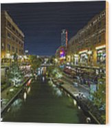 Bricktown Canal Vertical Wood Print