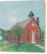Bricktown School Wood Print by Mary Armstrong
