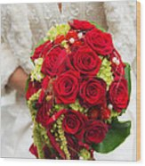 Bridal Bouquet With Red Roses Wood Print
