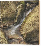 Bridal Veil Stream And Mossy Rocks - Heber Springs Arkansas Wood Print