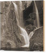 Bridalveil Falls In Yosemite Sepia Version Wood Print