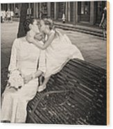 Bride And Daughter Kiss In Jackson Square New Orleans Wood Print