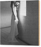 Bride At The Window I. Black And White Wood Print