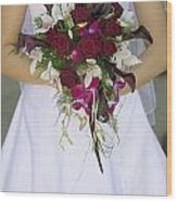 Brides Bouquet And Wedding Dress Wood Print
