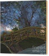 Bridge And Blue Tree Wood Print