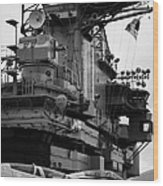 Bridge And Flight Deck Island On The Uss Intrepid New York Wood Print