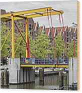 Bridge And Houses On Entrepotdok In Amsterdam Wood Print