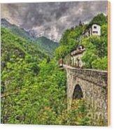 Bridge And Mountain Wood Print