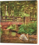 Bridge And Swan Wood Print