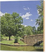 Bridge At A Park In The Summer Wood Print