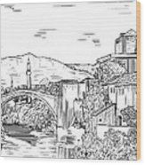 Bridge At Morstar Wood Print