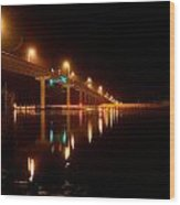 Bridge At Night Wood Print