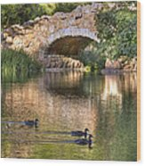 Bridge At Stow Lake Wood Print