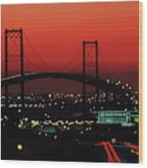 Bridge At Sunset Wood Print