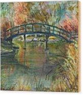 Bridge At The Botanical Gardens Wood Print