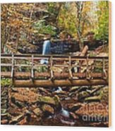 Bridge By B Reynolds Falls Wood Print