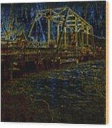 Bridge Crossing C. 1885 Glowing Edges Wood Print