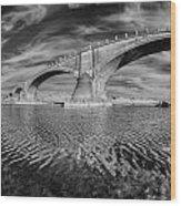Bridge Curvature In Black And White Wood Print