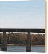 Bridge For The Train Over The Red River Wood Print