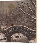 Bridge In Central Park Wood Print