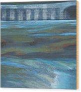 Bridge In Flood Stage Wood Print