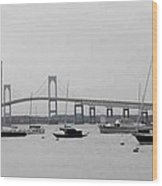 Bridge In Newport Wood Print