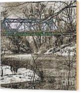 Bridge In Snow Wood Print