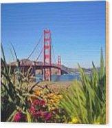 Bridge In Spring Wood Print