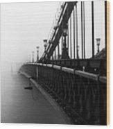 Bridge In The Fog - V Wood Print