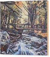 Morning Bridge In Woods Wood Print
