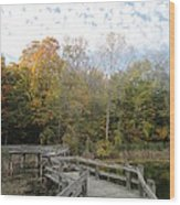 Bridge Into Autumn Wood Print by Guy Ricketts