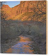 Bridge Mt And The Virgin River Zion Np Wood Print