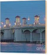 Bridge Of Lions At Dusk St Augustine Florida Wood Print