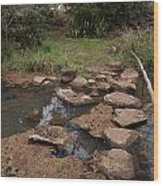 Bridge Of Rocks Across The River Wood Print