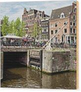 Bridge On Singel Canal In Amsterdam Wood Print