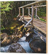 Bridge Over A Mountain Stream Wood Print