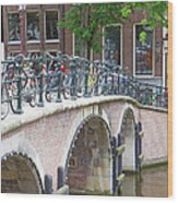 Bridge Over Canal With Bicycles  In Amsterdam Wood Print