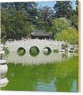 Bridge Over Emerald Water Wood Print