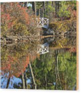 Bridge Over Fall Waters Wood Print