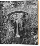 Bridge Over Falls Wood Print