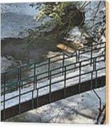 Bridge Over Frozen River Wood Print