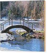 Bridge Over Ice N Snow Wood Print