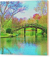 Bridge Over Lake In Spring Wood Print