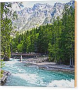 Bridge Over Mcdonald Creek In Glacier Np-mt Wood Print