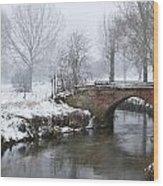 Bridge Over River In A Snowstorm Wood Print