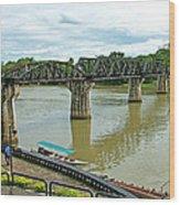 Bridge Over River Kwai In Kanchanaburi-thailand Wood Print