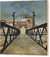 Bridge Over The River Guadalmedina In Malaga. Spain Wood Print