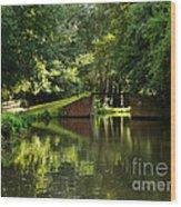 Bridge Over The Wey Navigation In Surrey Wood Print