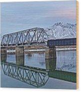 Bridge Over Tranquil Waters In Kamloops British Columbia Wood Print