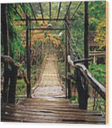 Bridge Over Waterfall Wood Print